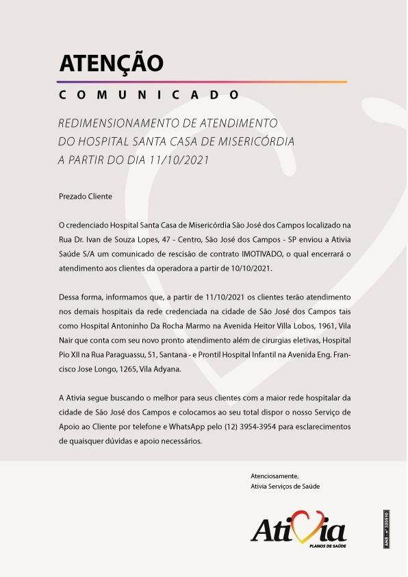 Redimensionamento de atendimento do hospital Santa Casa de Misericórdia a partir do dia 11/10/2021